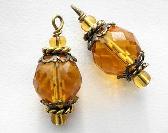 Golden Topaz Glass Bead Charms Pendants