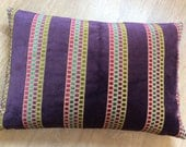 RECTANGLE block PURPLE STRIPED velvet cushion cover with small square design in Pink Teal Purple Olive. Velvet cushion cover Pillow Sham