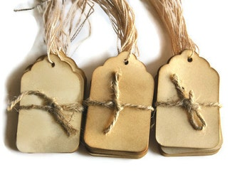 50 Coffee stained vintage inspired favor gift tags . wishing tree card . primitive . rustic . wedding . scrapbooking