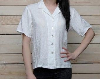Pure Linen Short Sleeve Blouse/Shirt