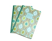 Teal and Green Geometric Blank Journals Set of Two 5 x 7 Craft Supplies  Ready To Personalize