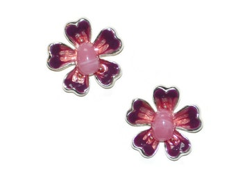 Dogwood Flower Pendants Set of Two Pink Maroon Enamel Stone and SilverTone Supplies Jewelry Supplies