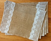 Burlap and Lace Placemats, set of 5