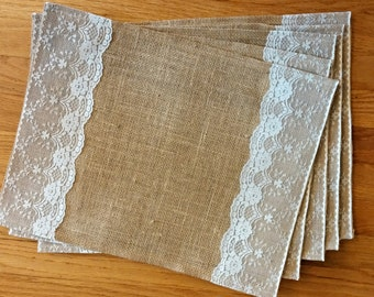 Burlap and Lace Placemats, set of 6