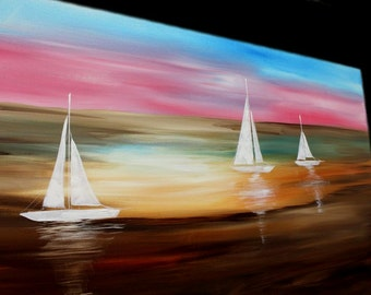 """Abstract painting,Original comtemporary Art,Sailing Away Ready to hang 60"""" X 30""""  by Nicolette Vaughan Horner"""