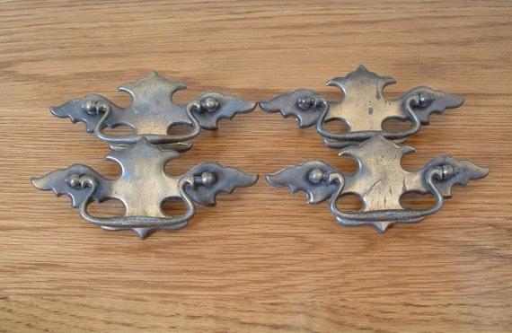 vintage antique brass finish drawer pulls lot of 4 cabinet handles