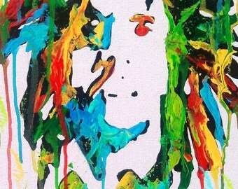 Bob marley painting, print, poster, rasta, Jamaican, one love, iron lion zion, wall art, reggae, hippie, peace, gifts, original art, music