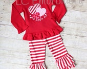 Embroidered Heart Ruffle Top & Triple Ruffle Pants Valentine Outfit