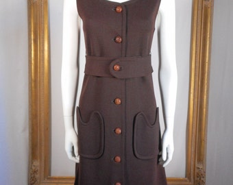 Vintage 1960's Kimberly Brown Wool Sleeveless Dress - Size 4