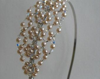 Pearl crystal hairband. Wedding tiara headband headpiece.
