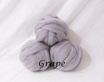 Wool roving in Grape, 1 ounce wool roving for needle felting, wet felting, spinning, 1 oz wool roving sampler, dyed wool sampler
