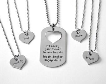 Deployment Necklace Set - Family Deployment Necklace - Military family necklaces - Military Wife - Military Mother