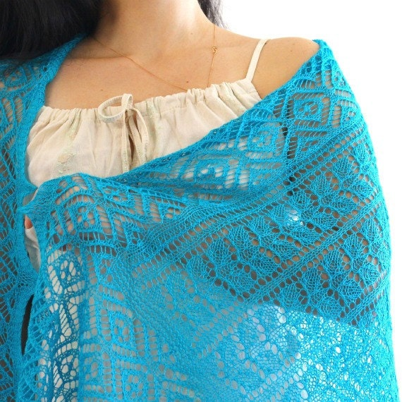 Knit shawl, knit scarf in turquoise, lace wedding shawl, bridesmaids shawl, gift for her ready to ship