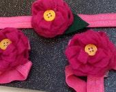 Barefootin Beauty Sandel and Headband Set Hot Pink Felt Pom Blossoms