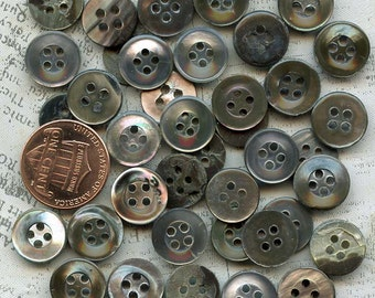 40 Vintage Mother of Pearl Shell Smoky Oyster Buttons 15/32 Inch 12mm MOP Shell Sewing Buttons