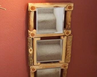 Wood wall decor - Aspen mirror - Modern rustic - Log cabin decor