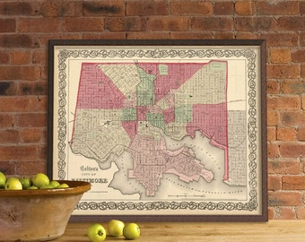 Baltimore map - Archival maps print - Old map of  Baltimore -  City map print