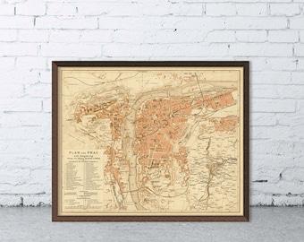 Vintage map of Prague - Old map  - Archival print of Prague map