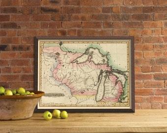 "Michigan map print   - Map of Michigan state - fine reproduction  - 16 x 21.5 "" Print"