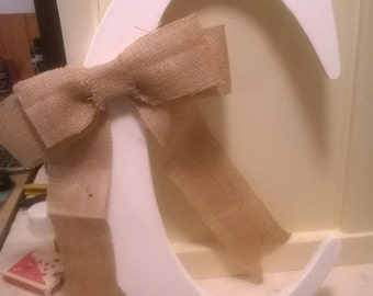 18' Wood Rustic Letter C Lightly Distressed with Burlap Bow