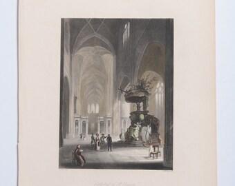 Cathedral of St Bavon, Ghent, Belgium. ca 1840 Artist W. Scott, Engraver A. H. Payne.