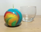Medium Round Multicolored  Rainbow Marbled Candle