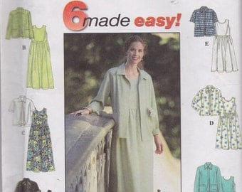 Simplicity 7954, Size 6-8-10, Misses' Dress and Jacket Pattern, UNCUT, Casual Dress, Work Wear, 1997, Factory Folds, Six Made Easy Pattern