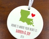 Home is Where Your Heart Ornament - Home State Ornament - Personalized Porcelain Ceramic Christmas Gift - orn477 - Peachwik - State Ornament