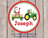 Printable Personalized Tractor Santa Tshirt Transfer Design.  Christmas Iron On Transfer.  Personalized iron on. Tractor Holiday Shirt.