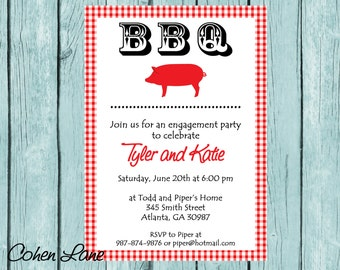 Printable BBQ Invitation.  BBQ Engagement Party Invite.  Bridal Shower.  BBQ Wedding Shower.  BbqBaby Shower Invitation.