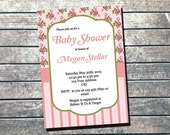 Shabby Chic Baby Shower Invitation PRINTABLE INVITATION - It's A Girl Invitation - Girl Baby Shower - Vintage Decorations