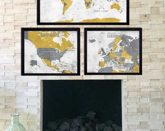 Set of 3 Maps, World Traveler Series, Paper or Cotton Gift, First and Second Anniversary Gift, Gift for dad and mom, Gift for grads