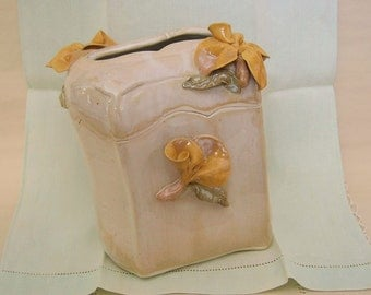 Tissue Dispenser in Hand Built Porcelain with Yellow Roses, Bathroom Accessories