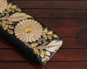 1 Yard Black Silk Fabric Trim-Embroidered Floral Design-Golden Thread Work Silk Ribbon-Art Quilts Fabric-Sari Border Trim By The Yard