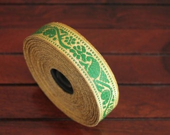 1 yard-Green& Golden Jacquard Trims-Woven Ribbon-Decorative Art Quilts fabric trim-Designer Silk Saree Border Trim-Brocade Fabric Trim