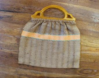 Plastic Handle TOTE / Vintage Woven Bag / Bohemian Textile Purse