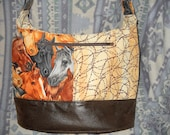 "Nightwingcreations Original Design,The ""Ashley Bag"", Cross Body, Bucket Bag, Hand-Made,Horses and Barbed Wire"