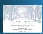 Winter Wedding Invitations with Trees- Winter Wonderland, Park Theme, City Wedding, City Park Snow Covered Path