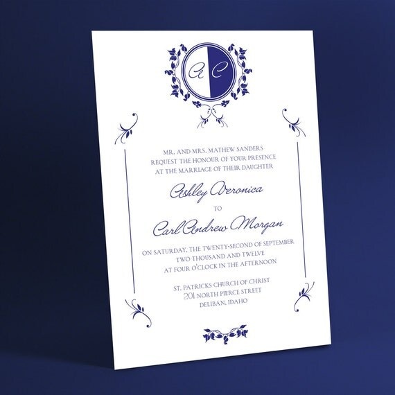 Custom Monogram Wedding Invitations with Classic Border and White or Ivory Background, Simple Minimalist Invites. You Choose Color Accents.