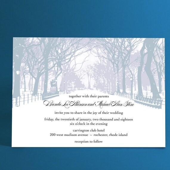 winter wedding invitations with trees winter wonderland park, Wedding invitations