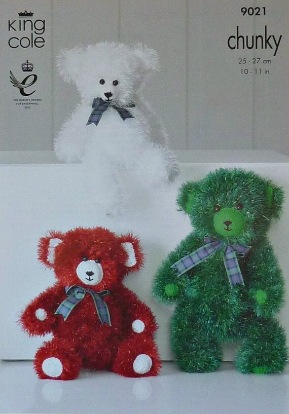 King Cole Teddy Bear Knitting Pattern : Soft Toy Knitting Pattern K9021 Tinsel Teddy Bears 3 Sizes