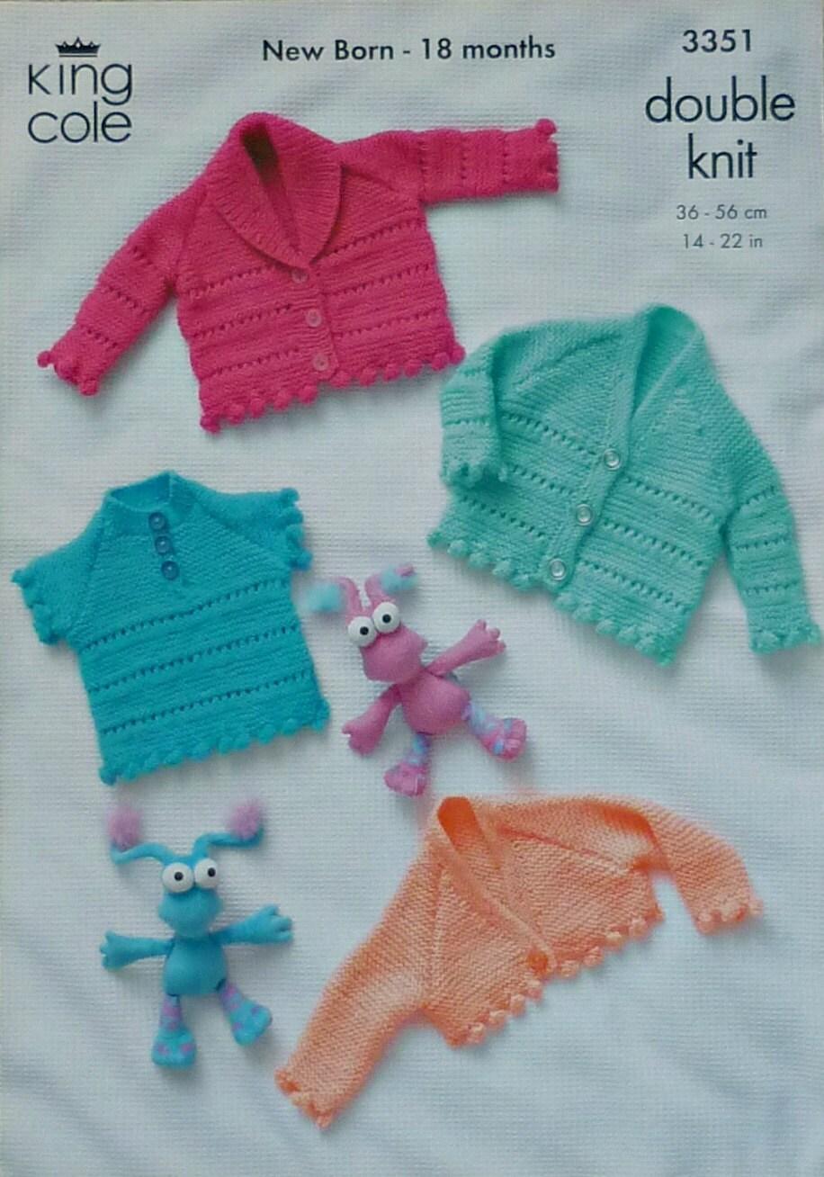 Baby Knitting Pattern K3351 Babies Eyelet Jumper and Cardigans