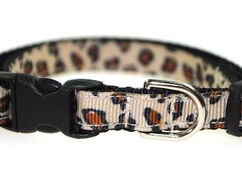"Leopard Print 3/8"" Adjustable Cat Collar"