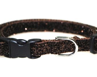 "Metallic Brown Glitter - 3/8"" Adjustable Cat Collar"