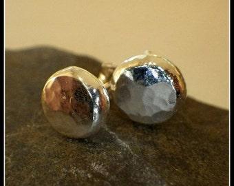 Sterling Silver Textured Nugget Stud Earrings