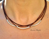 Leather Necklace - Christine Chandler - Leather and Sterling Silver Necklace - 3 Strand Leather Necklace - Leather Jewelry - Sterling Silver