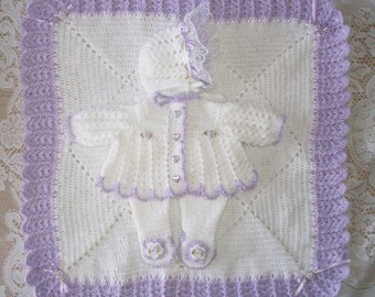 Crochet Baby Girl  Sweater Set Layette with Leggings, Bonnet and Blanket Frilly Lavender Perfect for Baby Shower Gift or Coming Home Outfit