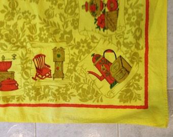 Bright  Yellow Tablecloth Mid century modern with orange kitchen items design 63 x 47