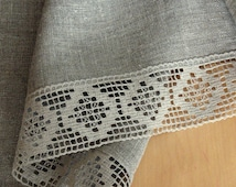 """Square Tablecloth Natural Gray Christmas Tablecloth Lace Tablecloth Linen Tablecloth Burlap Tablecloth Prewashed Linen Lace 60"""" x 60"""""""
