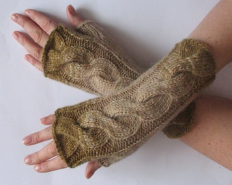 Fingerless Gloves Khaki Beige Brown wrist warmers